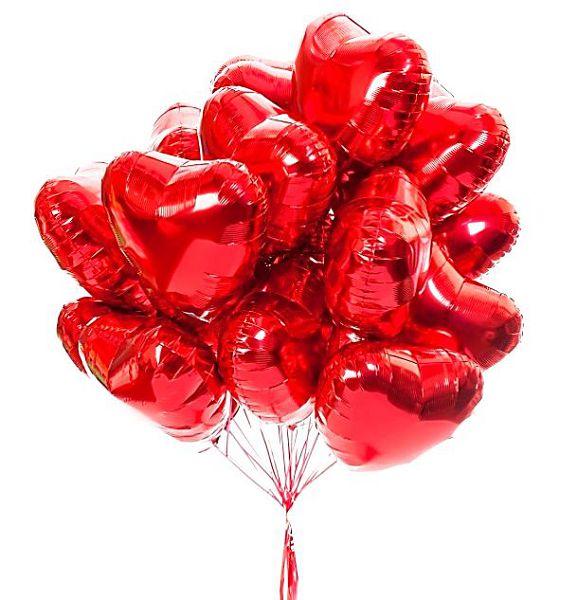 Фольгированные сердца красные