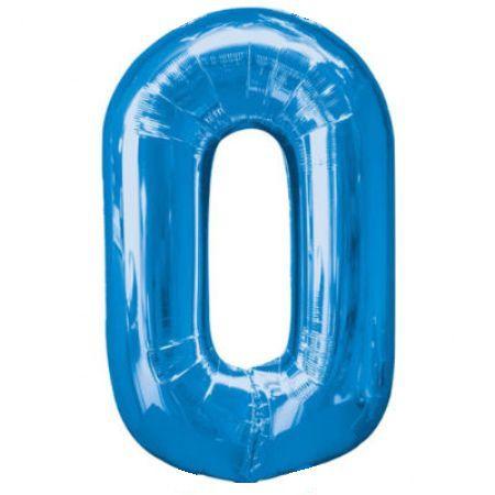 Шар (40''/102 см) Цифра, 0, Синий