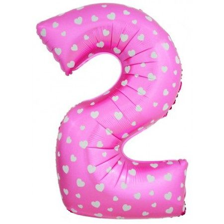 Шар (40''/102 см) Цифра, 2, Розовые сердечки