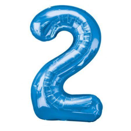 Шар (40''/102 см) Цифра, 2, Синий
