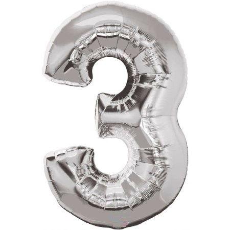 Шар (40''/102 см) Цифра, 3, Серебро