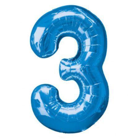 Шар (40''/102 см) Цифра, 3, Синий