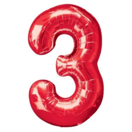 День рождения Шар (40''/102 см) Цифра, 3, Красный, 1 шт.