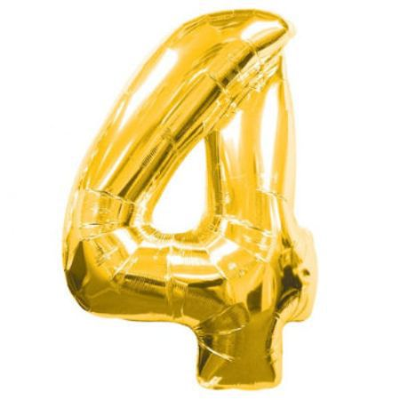 Шар (40''/102 см) Цифра, 4, Золото