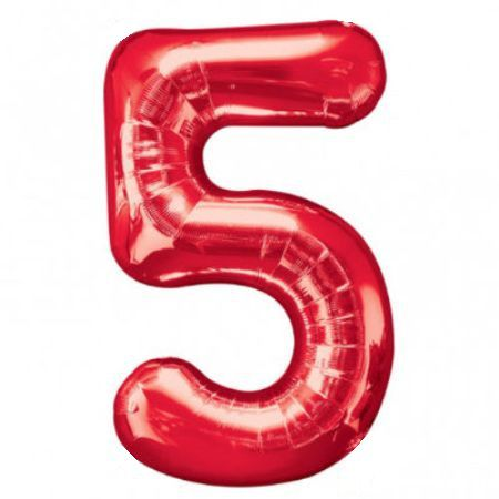 День рождения Шар (40''/102 см) Цифра, 5, Красный, 1 шт.
