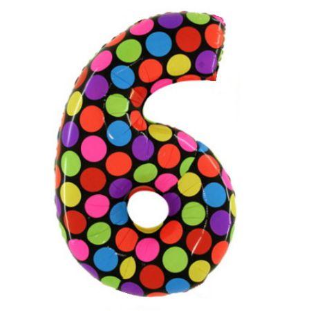 Шар (40''/102 см) Цифра, 6, Дизайн-шарики