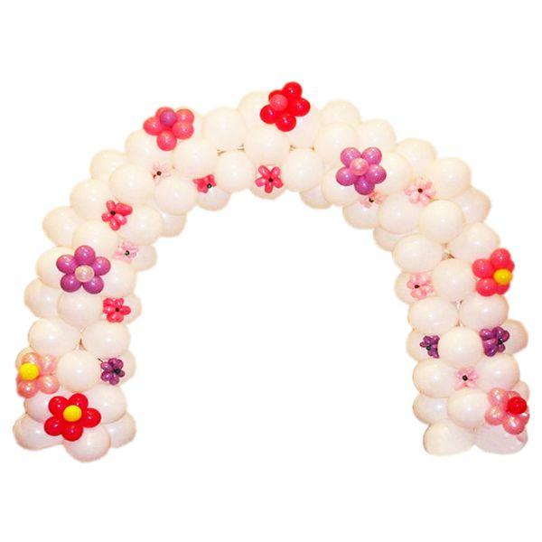 Арка плетеная из шаров «Розовые цветы»