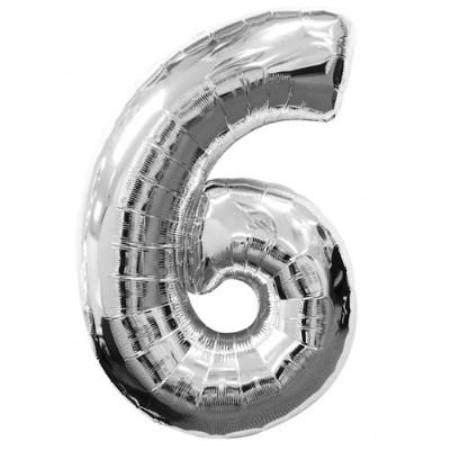 Шар (40''/102 см) Цифра, 6, Серебро