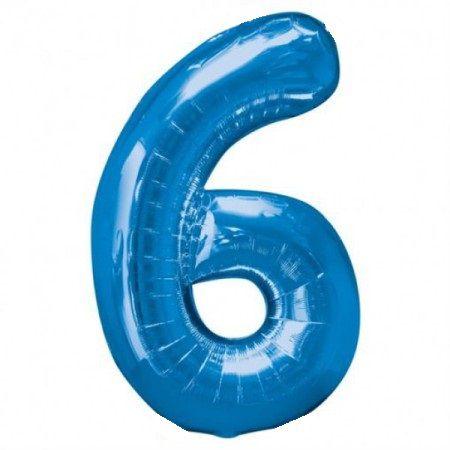 Шар (40''/102 см) Цифра, 6, Синий