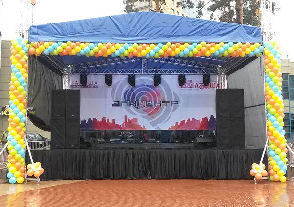 Оформление воздушными шарами концертной площадки