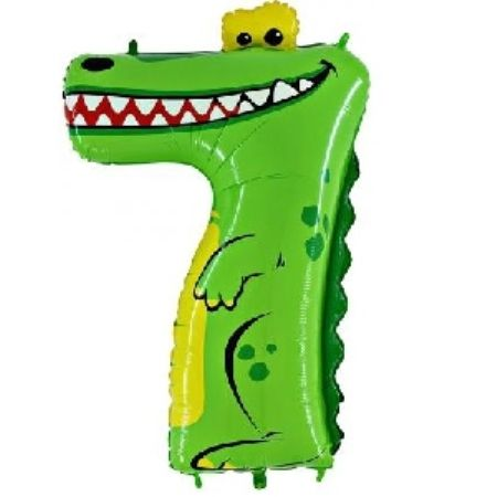 Шар (40''/102 см) Цифра, 7 Крокодил, в упаковке