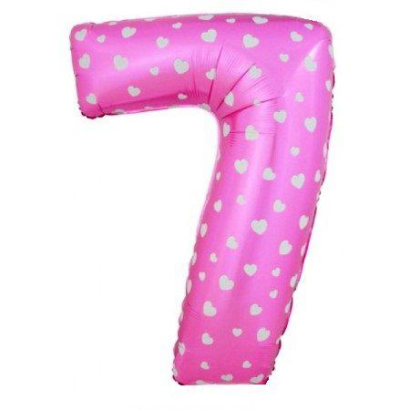 Шар (40''/102 см) Цифра, 7, Розовые сердечки