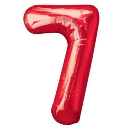 Шар (40''/102 см) Цифра, 7, Красный