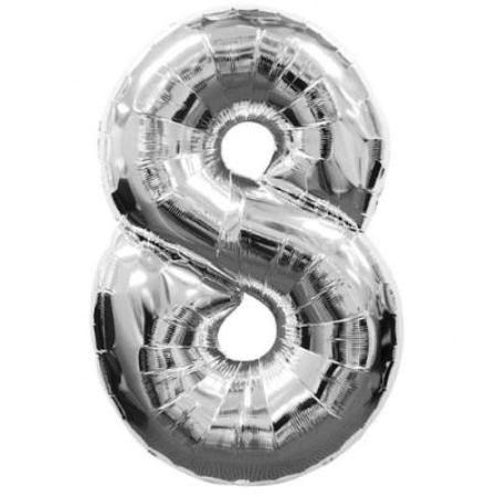 Шар (40''/102 см) Цифра, 8, Серебро