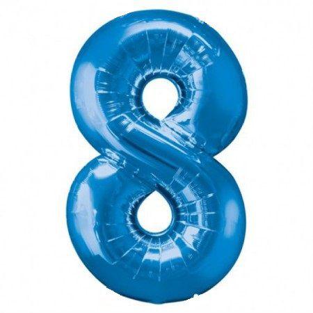 Шар (40''/102 см) Цифра, 8, Синий