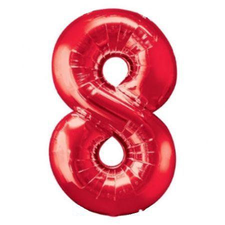 Шар (40''/102 см) Цифра, 8, Красный