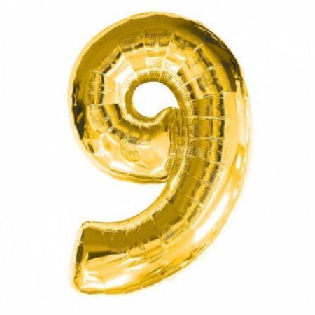 Шар (40''/102 см) Цифра, 9, Золото
