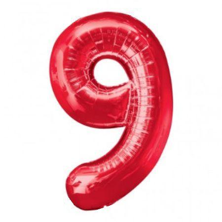 Шар (40''/102 см) Цифра, 9, Красный