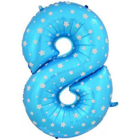 Шар (40''/102 см) Цифра, 8, Голубые звездочки