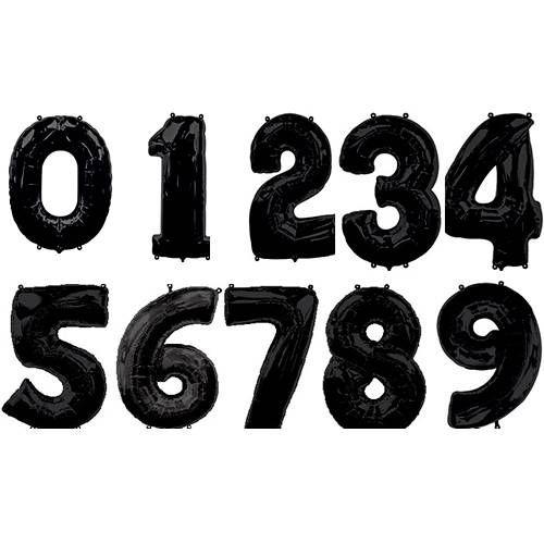 Воздушные шары черные цифры