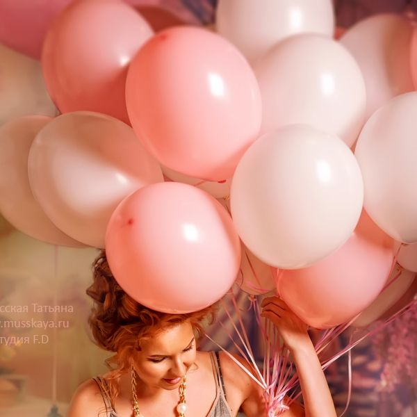 Шары под потолок Розовый пастель