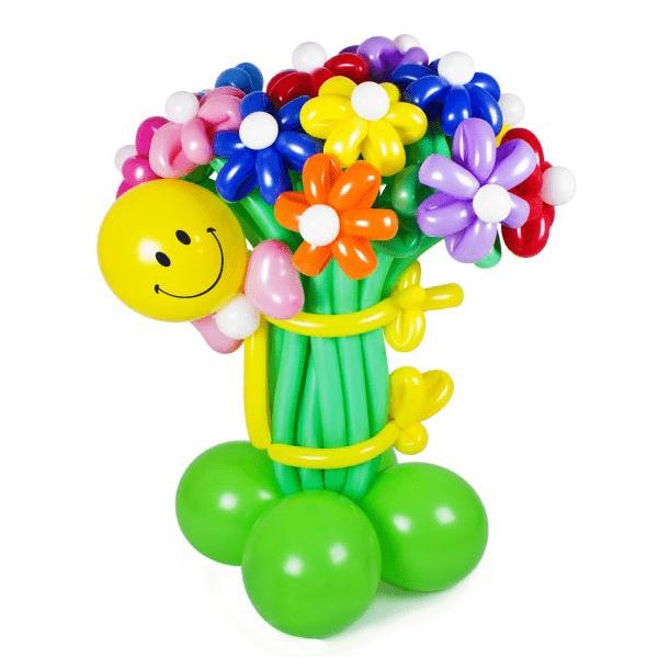 Букет цветов «Веселый смайлик с бабочкой»