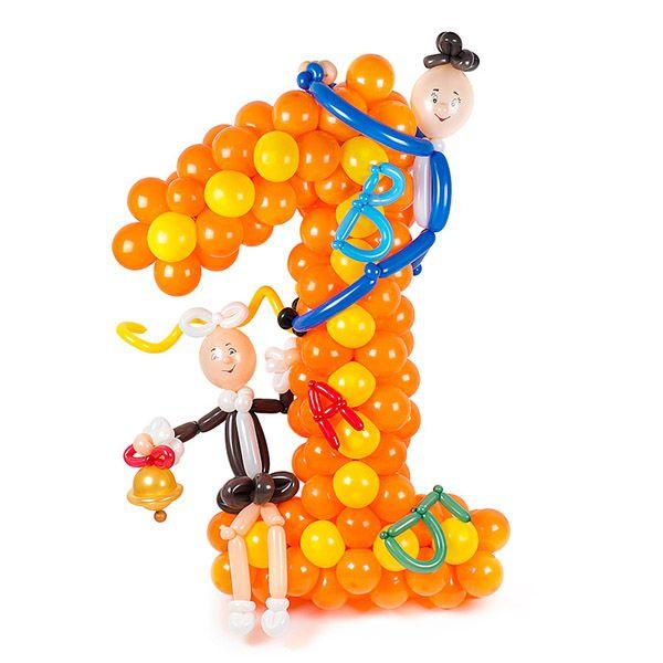 Цифра 1 плетеная из шаров