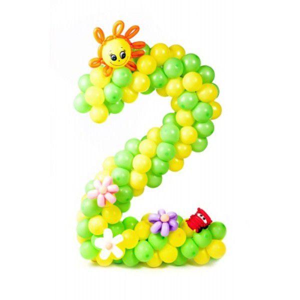 Цифра 2 плетеная из шаров