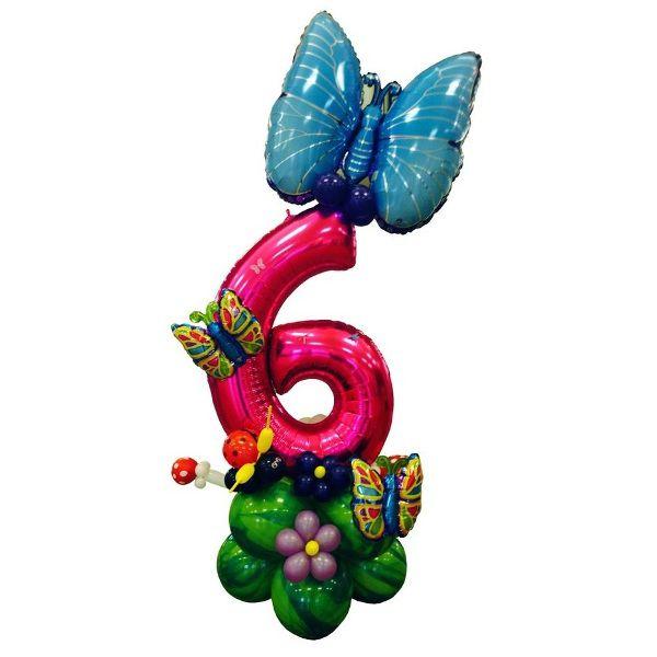 Цифра 6 фольгированная с бабочкой