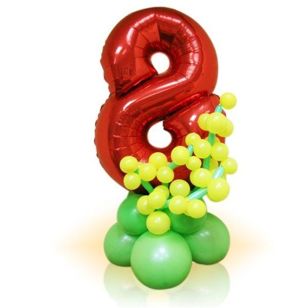 Цифра 8 фольгированная красная с мимозой