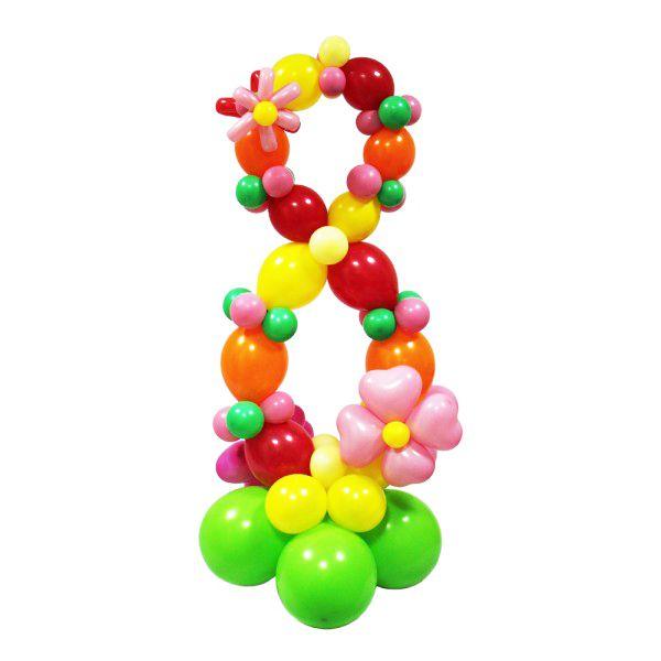 Цифра 8 плетеная из шаров на ножке