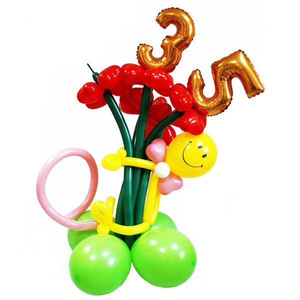 Цветы из шаров с фольгированными цифрами