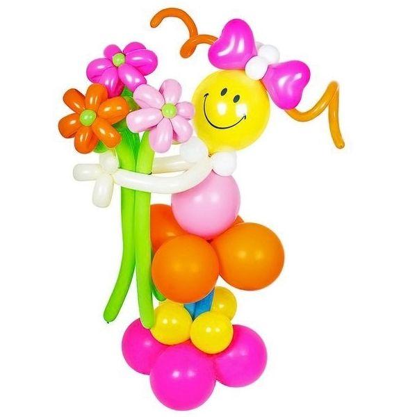 Фигура из шаров «Девочка с розовым бантом»