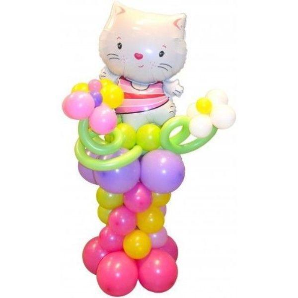 Фигура из шаров «Китти с цветочками»