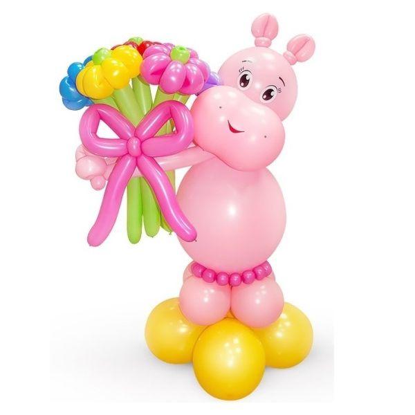 Фигура из шаров «Розовый бегемотик»