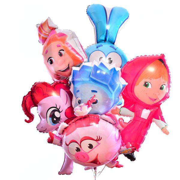 Облако из фигурных шаров для девочки «Мультяшки»