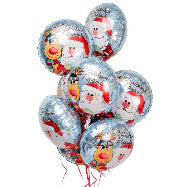 Облако из шаров «С Новым годом. Дед Мороз с Оленем»