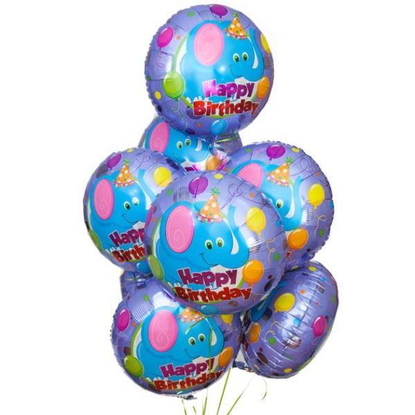 Облако из шаров «С днем рождения. «Голубой слоненок»