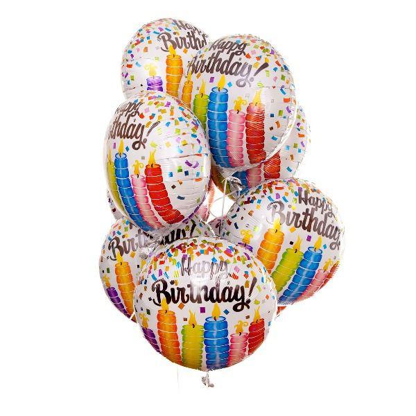 Облако из шаров «С днем рождения. Свечи»
