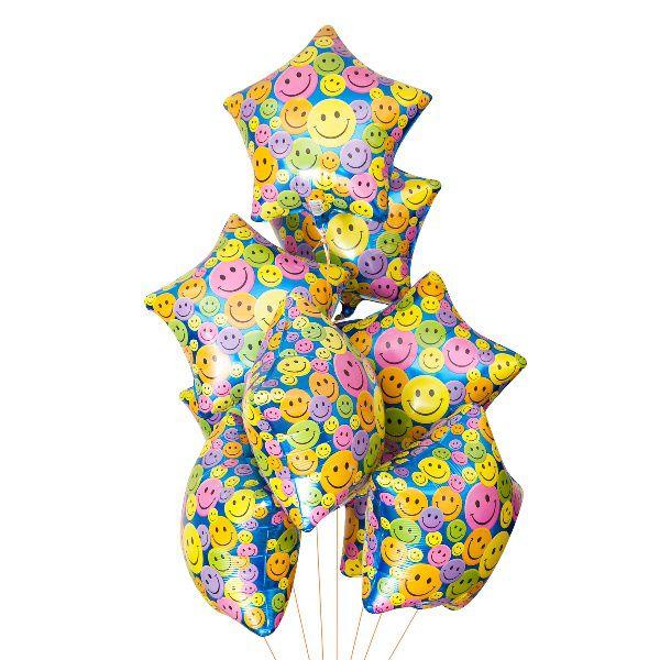 Облако из шаров «Звезды. Цветные Смайлы»