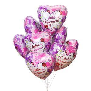 Воздушные шары сердца с рисунком