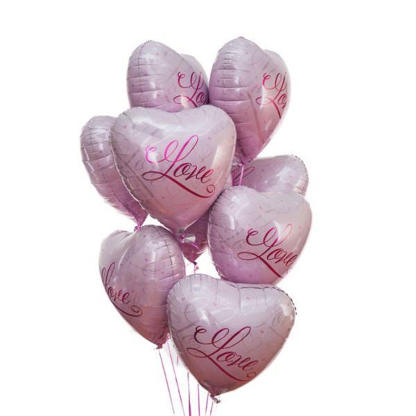 Облако шаров «Розовые сердца LOVE»