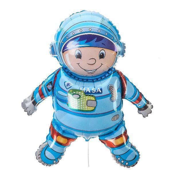 Шар (102 см) Фигура, Космонавт, Голубой.