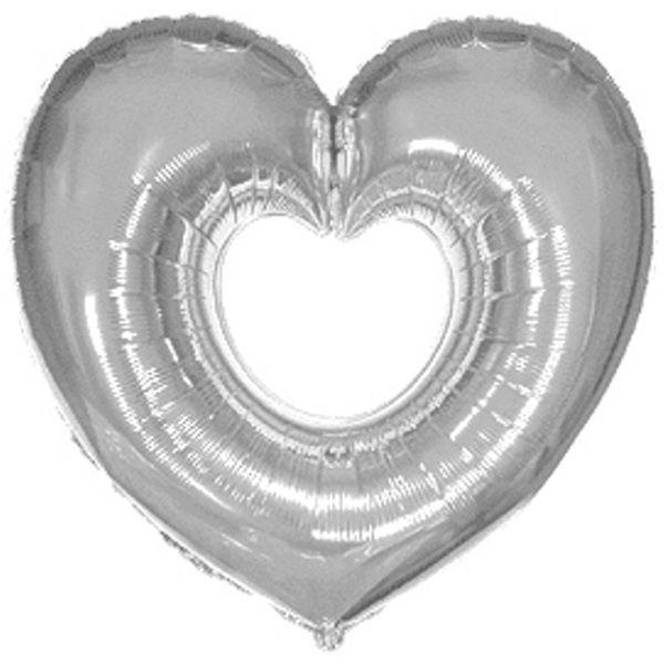 Шар (102 см) Фигура, Сердце в сердце, Серебро.