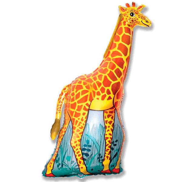 Шар (119 см) Фигура, Жираф, Оранжевый.