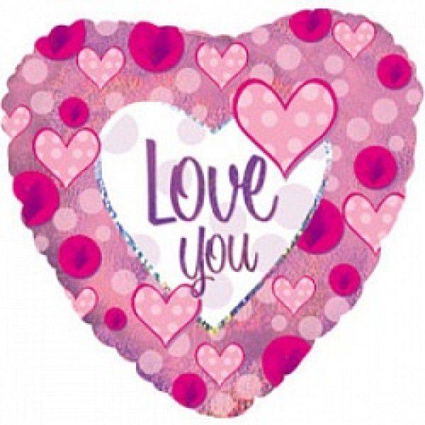 Шар (46 см) Сердце, Я люблю тебя (розовые сердечки), Голография.