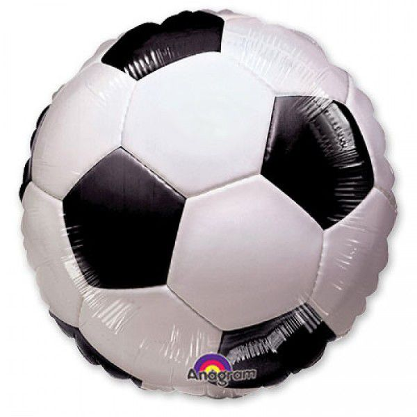 Шар (46 см) Круг, Футбольный мяч, Черный.
