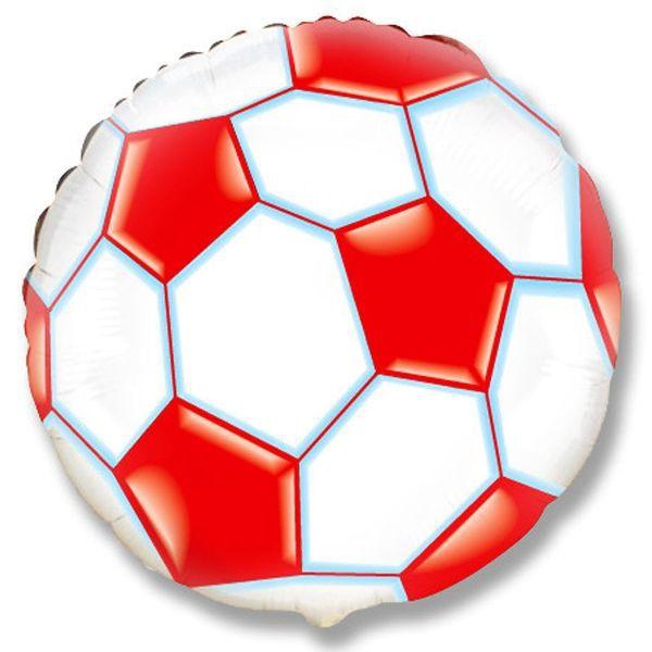Шар (46 см) Круг, Футбольный мяч, Красный.