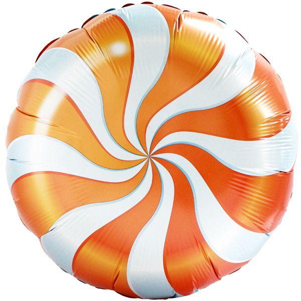 Шар (46 см) Круг, Леденец, Оранжевый.