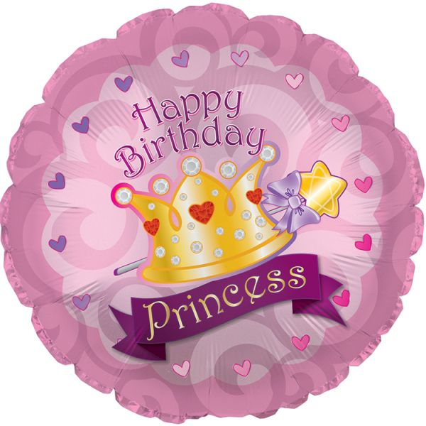 Шар (46 см) Круг, С Днем рождения (корона принцессы), Розовый.
